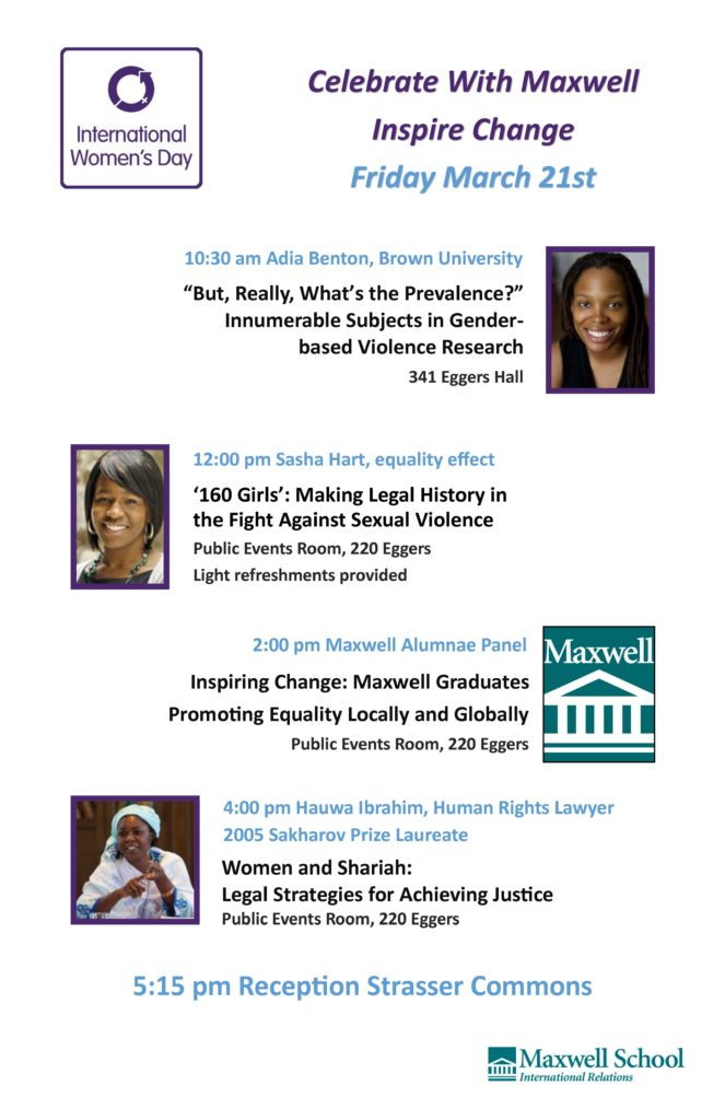Poster about International Women's day at the Maxwell School on March 14, 2014