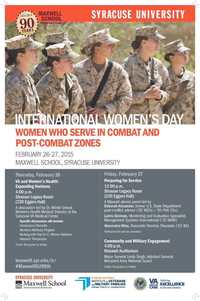 Poster - International Women's Day February 26-27, 1015 at the Maxwell School.